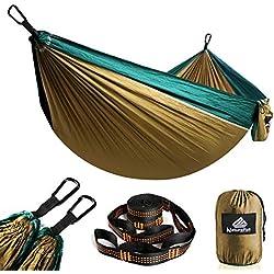 NATUREFUN Hamac Ultra-léger de Voyage Camping | 300 kg Capacité de Charge,(275 x 140 cm) Nylon à Parachute| 2 x Mousquetons de qualités, 2 x Sangles de Nylon| pour Jardin d'interieur/extérieur
