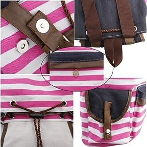 51gwOMEQJOL. SS300  - Rosa Mochila de lona del bolso de escuela de la raya linda estupenda para el bolso del ordenador port¨¢til de la escuela impermeable rosa