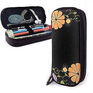 Estuche de lápices de cuero de PU en flor oscura, bolsa de bolígrafo de gran capacidad, organizadores de papelería duraderos para estudiantes, cremallera doble, 4 cm x 9 cm x 20 cm