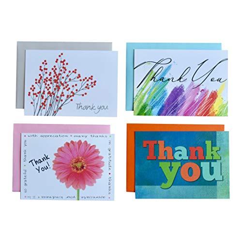 Thank You Karte Sortiment + farbigen Umschläge: 20Pack-4Designs-8,9x 12,7cm-100% recyceltem Papier-Made in USA - Koordiniert 20