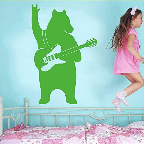 Wandaufkleber Wandtattoo Kunst Wohnkultur Bär Mit Gitarre Musik Tier Fun Home Wall Decal Vinyl Fertigen Größe 42X63Cm