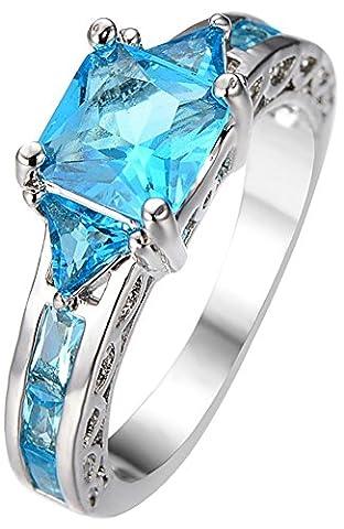SaySure 10KT White Gold Filled Aquamarine Wedding & Engagement Ring