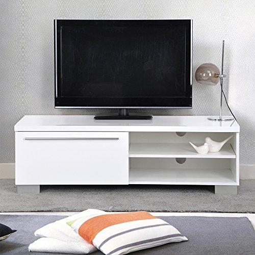 Meuble TV avec Tiroirs Laque Blanc,EGGREE Scandinave Design Chic et Simple MDF Bois Cabinet Pour la TV,120 x 45 x 37 cm