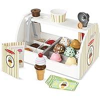 Melissa & Doug - Set de 28 piezas de madera para preparar helados, Wooden Ice Cream Counter (19286)