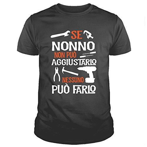 NO0001 T-Shirt Uomo Se Nonno Non può aggiustarlo Nessuno può Farlo Festa del Papa' (L, Nero)