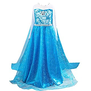 About Time Co Girls' Princess Long Dress Back Cape Costume (5-6 years)