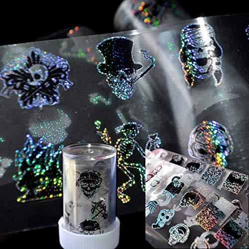 LXYQW Nagelsticker Zombie Love Skull Nagel Folie Maniküre Halloween Dekoration Nail Art Transfer Sticker holographische Sternenpapier Decals (Einfache Halloween Nail-art)