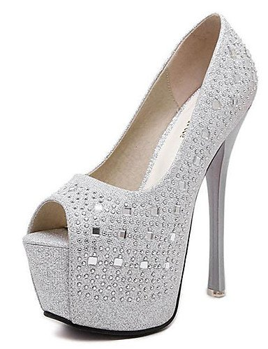 WSS 2016 Chaussures Femme-Habillé / Soirée & Evénement-Noir / Argent-Talon Aiguille-Bout Ouvert / Confort-Chaussures à Talons-Polyuréthane black-us6.5-7 / eu37 / uk4.5-5 / cn37