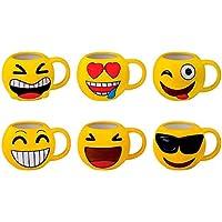 DISOK - Taza Emoticonos - Tazas Emojis, Emoticonos para Niños, Infantiles, Juveniles. Mugs Desayuno para Regalos y Detalles de Bodas, Bautizos, Comuniones y Cumpleaños