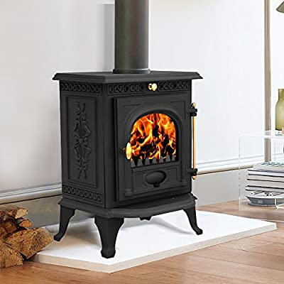 Lincsfire Welton JA014 6.5KW Cast Iron Log Burner Modern MultiFuel Wood Burning Stove WoodBurner Woodburning Fireplace