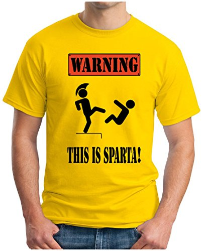OM3 - WARNING - THIS IS SPARTA - T-Shirt CAUTION GEEK KULT BRUTAL SPARTAN FIGHTER SWAG EMO, 5XL, Gelb (Gelbes Fighter T-shirt)