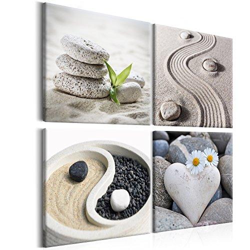 murando - Bilder Zen 40x40 cm - Vlies Leinwandbild - 4 TLG - Kunstdruck - modern - Wandbilder XXL - Wanddekoration - Design - Wand Bild - Canvas - Jing-Jang Steine Blumen beige Natur b-B-0234-b-i