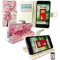 Emartbuy® LG L65 Premium PU Leder Brieftaschen Wallet Etui Hülle Case Cover aus PU Leder Rosa Blossom mit KRotitkartenfächern