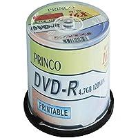 100 PRINCO DVD-R 4,7 GB 16X de impresión de inyección de tinta de camiseta blanca para tartas caja en TUB de cara completa , 100 unidades