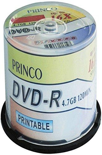 Princo 100 dvd-r 4,7gb 16 x stampabili full face, colore: bianco, confezione da 100 pezzi, box cake