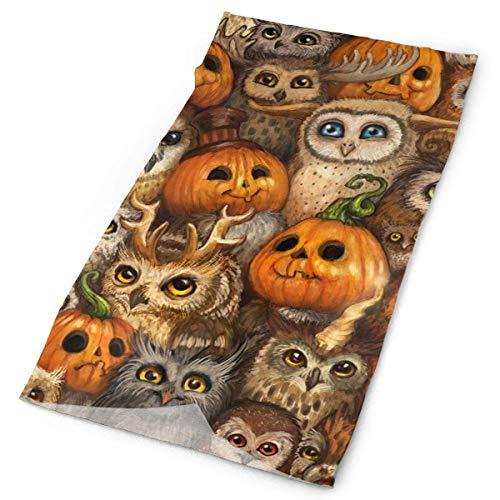 Happy Halloween Animated Owl Pumpkin Headband - Multifunctional Microfiber Sports Headwear - Works as Scarf/Face Mask/Neck Gaiter/Bandana/Balaclava 19.7x9.85 inches(50x25cm)