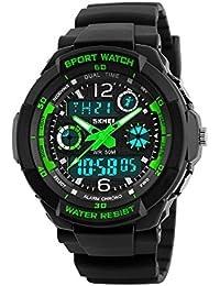Herren Jungen LED Analog Digital Sport Uhr 50M wasserdichte Militär Armbanduhr Shock Resistant Uhren (Grün)