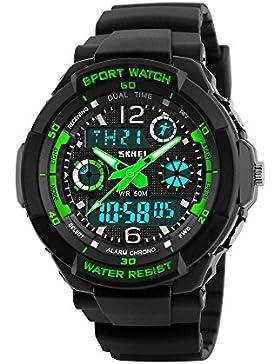 [Gesponsert]Kinder Armbanduhr Jungen Digital Analog Wasserdicht Outdoor Sports Uhren für Jungs und Mädchen,Digital Uhr(Grün)