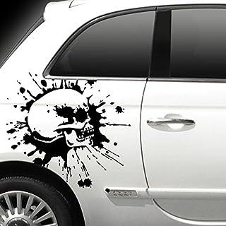 Wandora X8163 Autoaufkleber Totenkopf schwarz matt