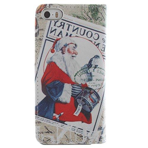 MOONCASE iPhone 5 Case Dessin Coloré Coque en Cuir Haute Qualité Portefeuille Housse de Protection Étui à rabat Case pour iPhone 5 5S -LK23 ST09