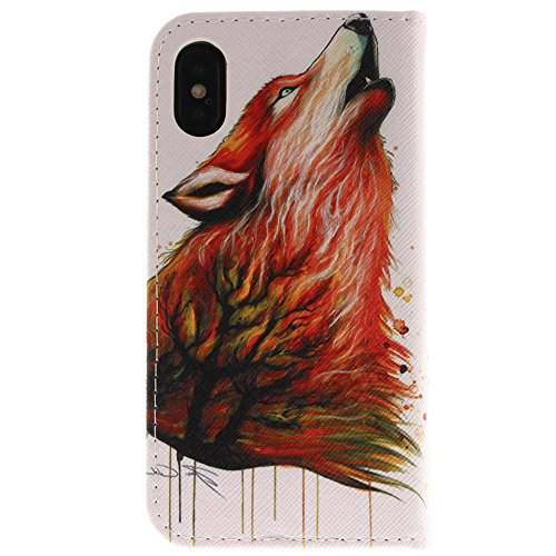 "MOONCASE iPhone X/iPhone 10 Housse, Built-in Étui Card Slots Protection [Colorful Painting] Coque PU Cuir Flip Case avec Support pour iPhone X 5.8"" Totem Wolf"