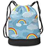 Osmykqe Rainbow Multi-Functional Unisex Beam Mouth Backpack&Drawstring Double Shoulder Bundle Bag Backpack School Sport Gym
