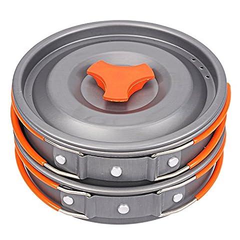 BELLESTYLE portable extérieur vaisselle de cuisine en camping avec casserole et poêle en aluminium anodisé anti-adhésifs pour 1-2 personnes
