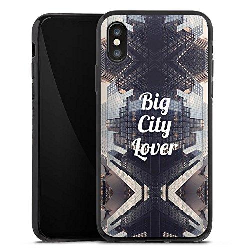 Apple iPhone X Silikon Hülle Case Schutzhülle City Hochhaus Statement Silikon Case schwarz