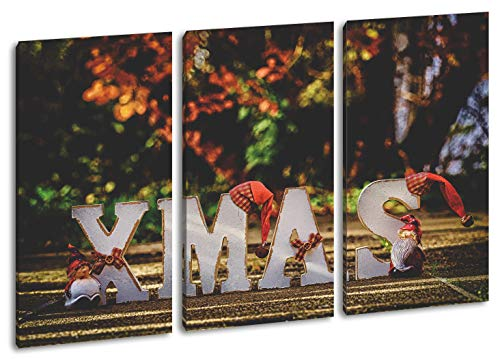deyoli Weihnachtliche Grüße Format: 3-teilig 120x80 als Leinwand, Motiv fertig gerahmt auf Echtholzrahmen, Hochwertiger Digitaldruck mit Rahmen, Kein Poster oder Plakat