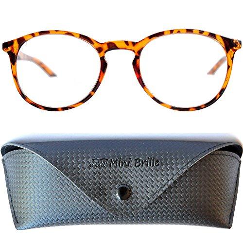 Nerd Blaulichtfilter Lesebrille | Anti Blaulicht Brille mit großen runden transparenten Gläsern | Inklusive GRATIS Etui | Kunststoff Rahmen (Leopard braun) | Anti Blaulicht Brille für Damen und Herren von Mini Brille | +1.0 Dioptrien