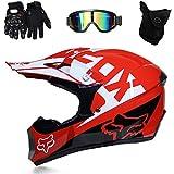 LYZL Motocross-Helm D.O.T zertifizierter Ausdauerhelm ATV Sicherheitshelm Langlaufhelm (mit 4 Sets) Brille/Handschuhe/Maske-eine Vielzahl von Farben,Red,M(54~55cm)