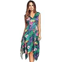 109b992fe4 Onfly Women V Neck Cap Sleeve Stripe Floral Asymmetry Flared Skirt Midi  Dress Elegent High Waist