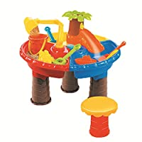 lulalula Sand and Water Play Table 3 in 1 Plastic Children Outdoor Beach Toys with kinds of Accessories and Stool