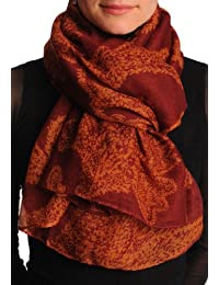 Rust Fern Leaves On Dark Burgundy Red Unisex Scarf & Beach Sarong - Red Floral Scarf