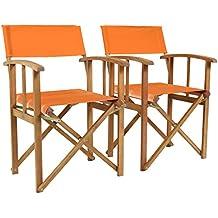 Charles Bentley Par De Directores de madera certificada FSC sillas plegables al aire libre Muebles de jardín - naranja