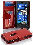 Cadorabo Hülle für Nokia Lumia 920 - Hülle in INFERNO ROT – Handyhülle mit 3 Kartenfächern - Case Cover Schutzhülle Etui Tasche Book Klapp Style