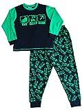 Pijama con estampado completo de vídeojuego con texto en inglés 'Eat Sleep Mine', para niños, 7 a 14 años Verde verde 11-12 Años