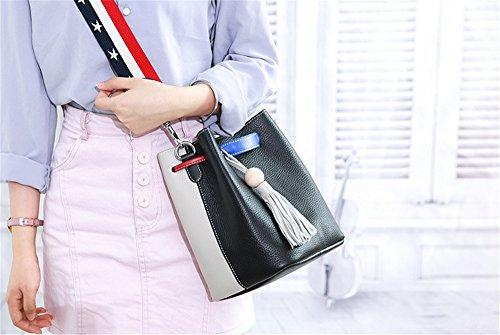 Xinmaoyuan Borse donna borsette in cuoio Messenger Borsa a Tracolla Estate Prima Classe Vacchetta colore Hit Wild fiocco semplice benna Ladies Bag,verde Nero