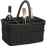 Saleen Flaschen-Korb für bis zu 6 Flaschen, Gastrotauglich, Rechteckig, 30 x 29 x 20 cm, Kunststofffaser, Schwarz, 02011619101
