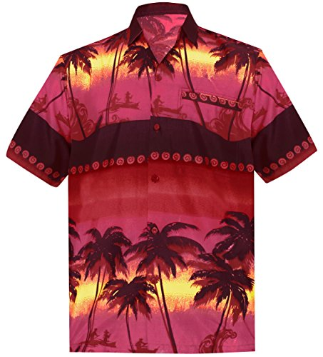 *La Leela* Shirt Camicia Hawaiana Uomo XS - 5XL Manica Corta Hawaii Tasca-Frontale Stampa Hawaiano Casuale Regular Fit Rosso1891 XS
