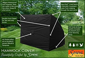 3 seater hammock cover luxury black polyester fully weatherproof furniture cover kc02  black  3 seater hammock cover luxury black polyester fully weatherproof      rh   amazon co uk