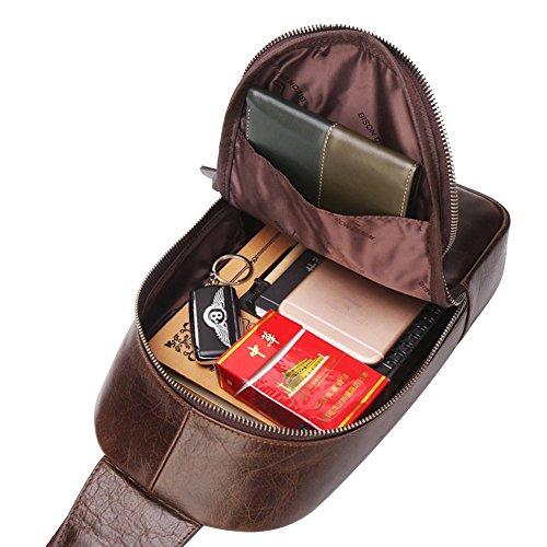 BISON DENIM Brusttasche Herren leder Rucksack Schultertasche Umhängetasche Reisetasche Freizeittasche Unbalance Crossbody Sling Bag Chest Bags (Braun / groß) Coffee