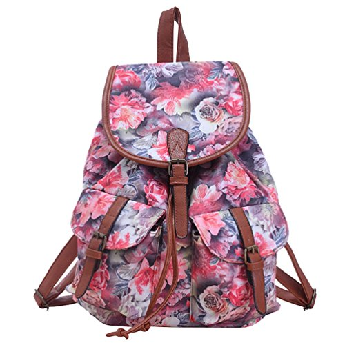 YiLianDa Vintage Canvas Damen Rucksack Schultertasche Retro Schulrucksack Backpack für Schule und Lässige Täglich Rot