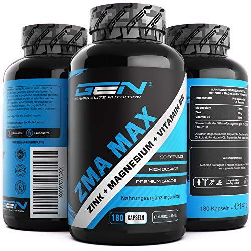 ZMA MAX - 180 Kapseln - Hochdosiert - Zink + Magnesium + Vitamin B6 - Hochwertiger Komplex im Premium Qualität - German Elite Nutrition