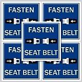 5 Stück Aufkleber Sticker Fasten Seat Belt Bitte Anschnallen Gurt anlegen Taxi Bus Hinweis