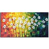 Raybre Art® 50 x 100 cm 100% Handgemalt Gemälde auf Leinwand Ölgemälde Modern Abstrakte Landschaft Bilder Weiße Blumen Wandbilder für Haus Dekoration Wandkunst Schlafzimmer, ohne Rahmen
