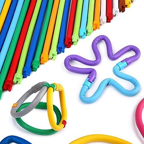 Peradix Weiche Flexibel Verdrehbare Bunte Stöcke DIY Steck-Spielzeug für Phantasie Gehirn Bildung mit Aufbewahrungsbeutel (109 PCS, #1)