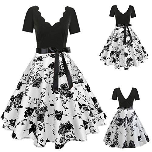 cinnamou Damen Ärmellose Abend Party Prom Swing Dress Sex Kleider Damen ärmellose Mode Print Vintage Flare Kleid