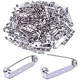 euhuton 100 Stück Brosche Pin Rücken Bar Pin Tone Pin Broschennadeln Sicherheitsnadeln Rücken Sicherheit Pins Silber für Namensschild Handwerk, 32mm
