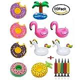 Tpocean Aufblasbare Getränke Halter Einhorn Obst Donuts Flamingo Schwan Aufblasbare Pool Schwimmt für Pool Party Wasser Spaß (10 stücke + 1 stücke Aufblasbare)